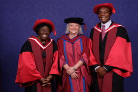 LSTM Director Professor Janet Hemingway with Honorary Degree recipients Dr Letitia Obeng (left) and Professor Victor Mwapasa (right)