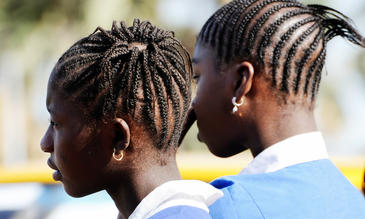 Two young african school girls