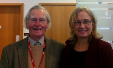 Dr Crewe with LSTM's Dr Louise Kelly-Hope in 2013