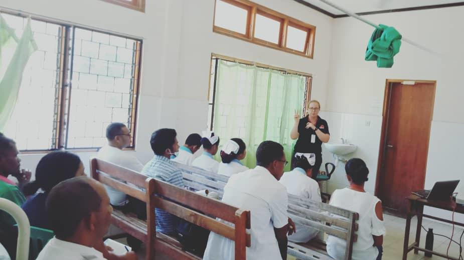 Teaching at the Community Health Centre about TB
