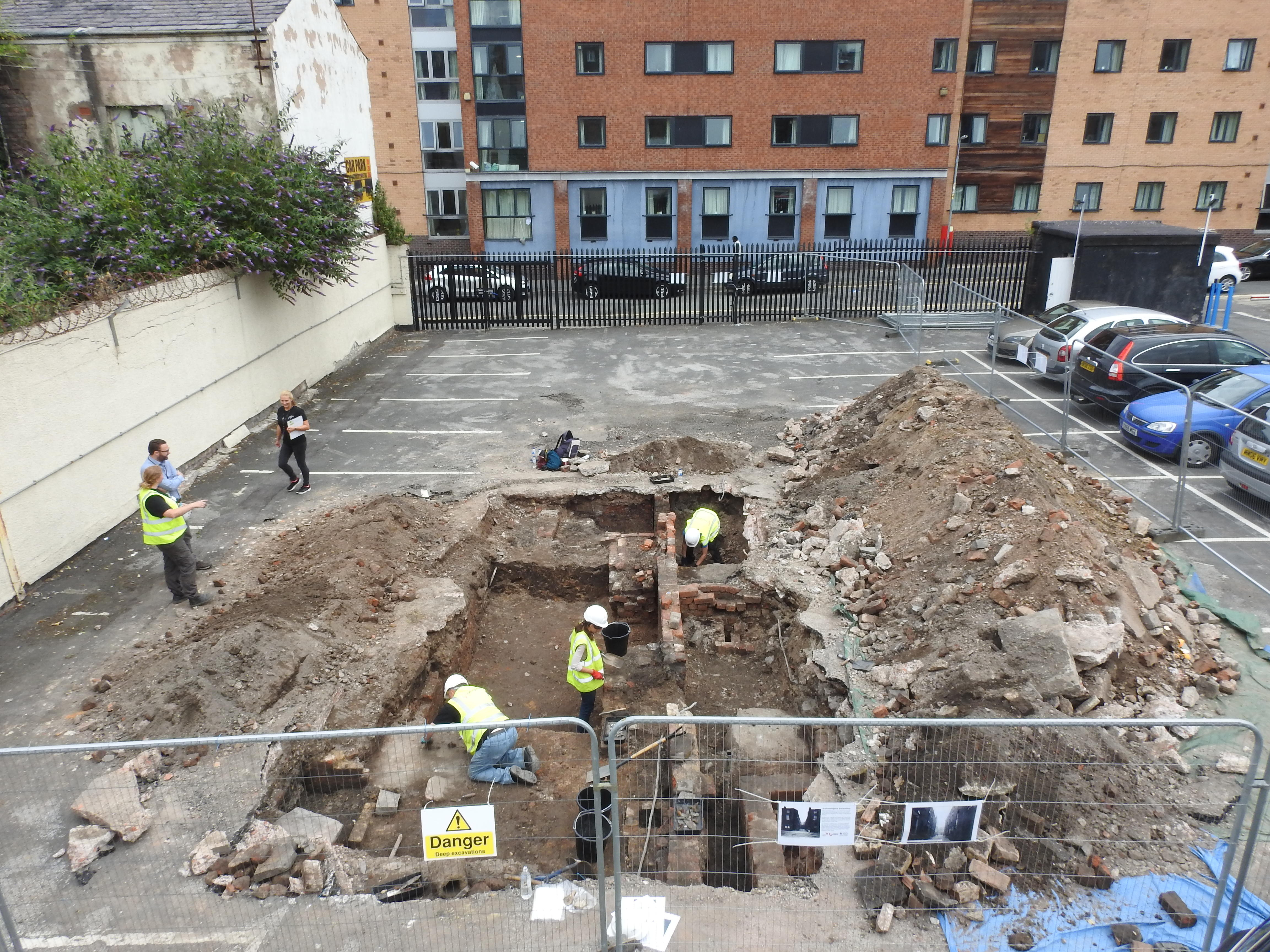 The excavation site at LSTM's Oakes Street car park in 2018