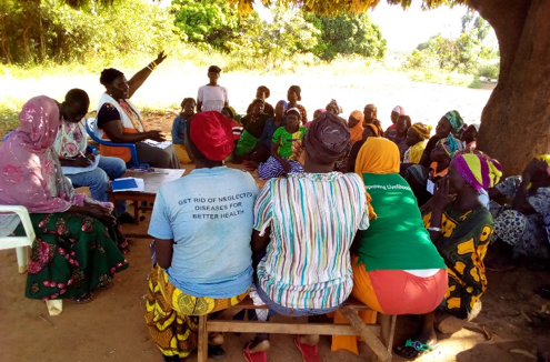 Community feedback meeting in Alaba village, northern Uganda