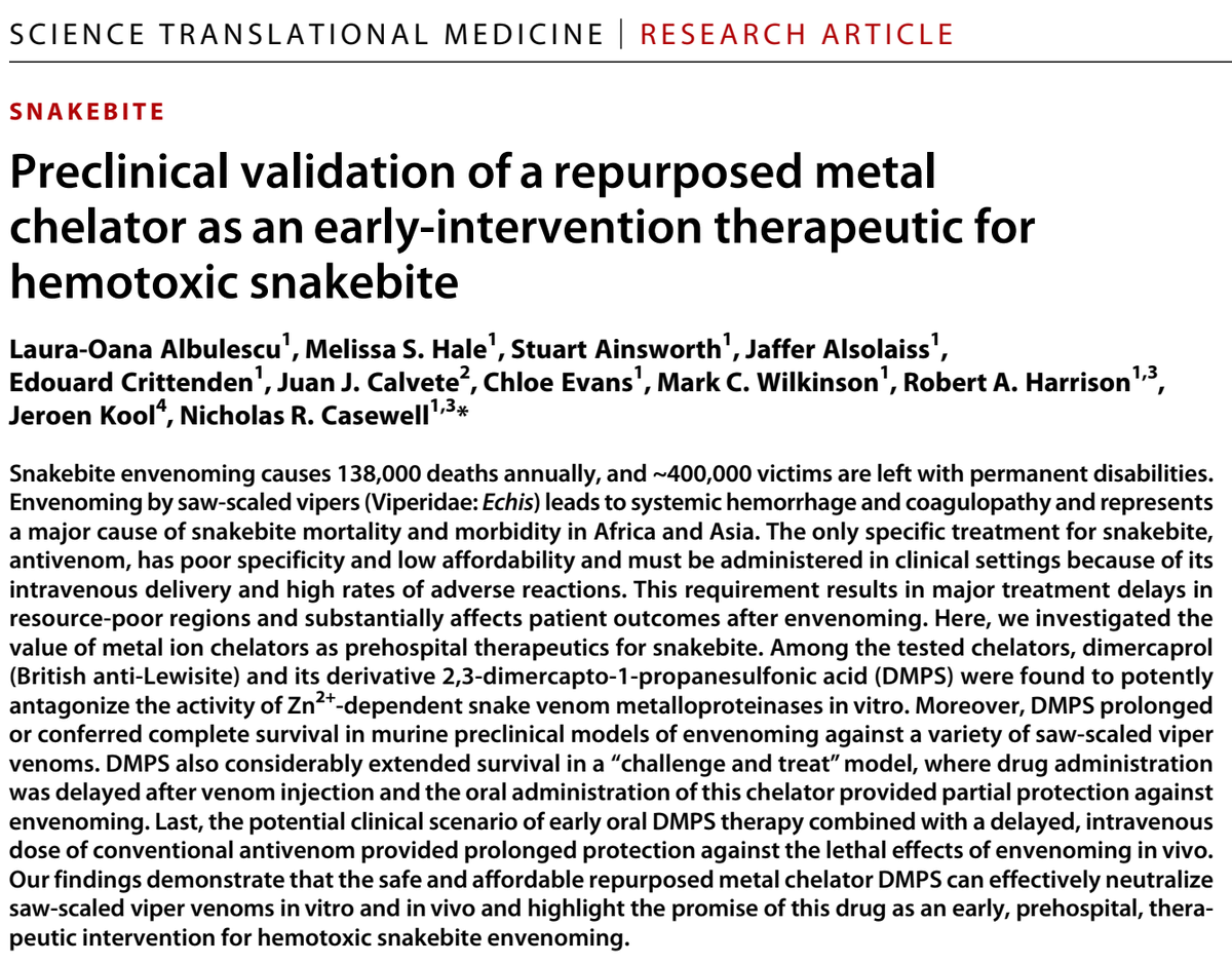 Dr Albulescu and Prof Casewell's article, published in the highly reputable journal Science Translational Medicine.